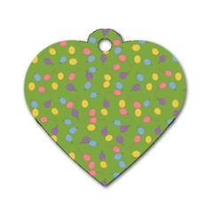 Balloon Grass Party Green Purple Dog Tag Heart (One Side)