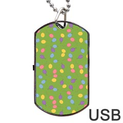 Balloon Grass Party Green Purple Dog Tag Usb Flash (two Sides)