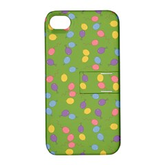 Balloon Grass Party Green Purple Apple Iphone 4/4s Hardshell Case With Stand