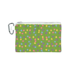 Balloon Grass Party Green Purple Canvas Cosmetic Bag (S)