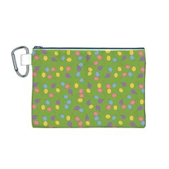 Balloon Grass Party Green Purple Canvas Cosmetic Bag (M)