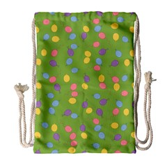Balloon Grass Party Green Purple Drawstring Bag (Large)