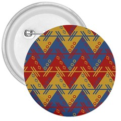 Aztec South American Pattern Zig Zag 3  Buttons