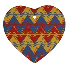 Aztec South American Pattern Zig Zag Ornament (heart)