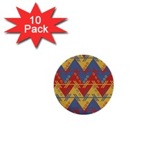 Aztec South American Pattern Zig Zag 1  Mini Buttons (10 pack)