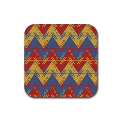 Aztec South American Pattern Zig Zag Rubber Square Coaster (4 Pack)