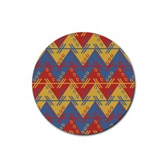 Aztec South American Pattern Zig Zag Rubber Round Coaster (4 pack)
