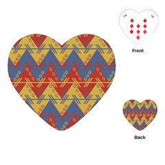 Aztec South American Pattern Zig Zag Playing Cards (Heart)