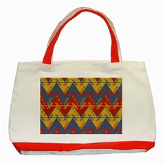 Aztec South American Pattern Zig Zag Classic Tote Bag (red)