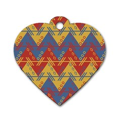 Aztec South American Pattern Zig Zag Dog Tag Heart (Two Sides)