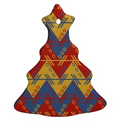 Aztec South American Pattern Zig Zag Ornament (christmas Tree)