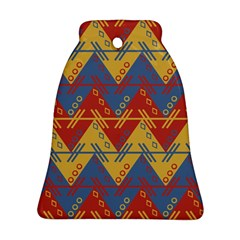 Aztec South American Pattern Zig Zag Bell Ornament (two Sides)