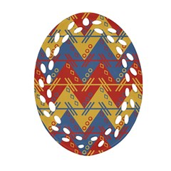 Aztec South American Pattern Zig Zag Oval Filigree Ornament (Two Sides)