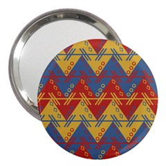 Aztec South American Pattern Zig Zag 3  Handbag Mirrors