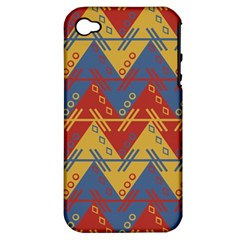 Aztec South American Pattern Zig Zag Apple iPhone 4/4S Hardshell Case (PC+Silicone)