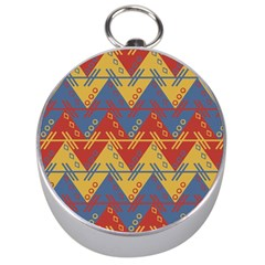 Aztec South American Pattern Zig Zag Silver Compasses