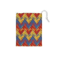 Aztec South American Pattern Zig Zag Drawstring Pouches (small)
