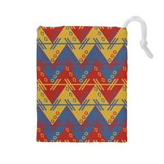 Aztec South American Pattern Zig Zag Drawstring Pouches (Large)