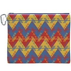 Aztec South American Pattern Zig Zag Canvas Cosmetic Bag (xxxl)