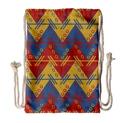 Aztec South American Pattern Zig Zag Drawstring Bag (large)