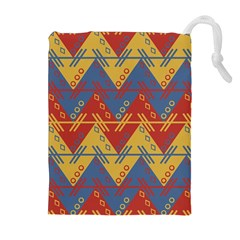 Aztec South American Pattern Zig Zag Drawstring Pouches (Extra Large)