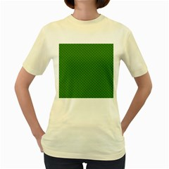 Paper Pattern Green Scrapbooking Women s Yellow T-Shirt
