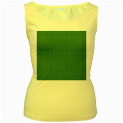 Paper Pattern Green Scrapbooking Women s Yellow Tank Top