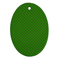 Paper Pattern Green Scrapbooking Oval Ornament (two Sides)