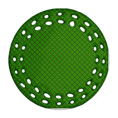 Paper Pattern Green Scrapbooking Round Filigree Ornament (two Sides)