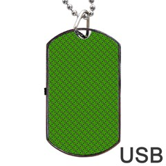 Paper Pattern Green Scrapbooking Dog Tag USB Flash (Two Sides)