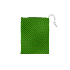 Paper Pattern Green Scrapbooking Drawstring Pouches (XS)