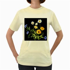 Flowers Of The Field Women s Yellow T Shirt
