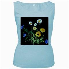 Flowers Of The Field Women s Baby Blue Tank Top