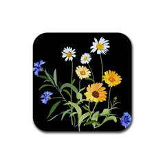 Flowers Of The Field Rubber Square Coaster (4 pack)