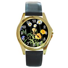 Flowers Of The Field Round Gold Metal Watch