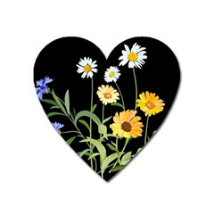 Flowers Of The Field Heart Magnet
