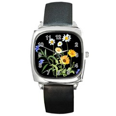 Flowers Of The Field Square Metal Watch
