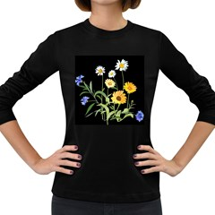 Flowers Of The Field Women s Long Sleeve Dark T Shirts