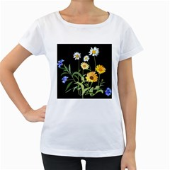 Flowers Of The Field Women s Loose-Fit T-Shirt (White)
