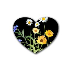 Flowers Of The Field Rubber Coaster (Heart)