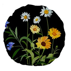 Flowers Of The Field Large 18  Premium Round Cushions