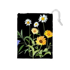 Flowers Of The Field Drawstring Pouches (medium)