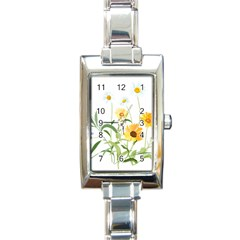 Flowers Flower Of The Field Rectangle Italian Charm Watch