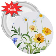 Flowers Flower Of The Field 3  Buttons (10 Pack)