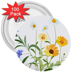 Flowers Flower Of The Field 3  Buttons (100 pack)