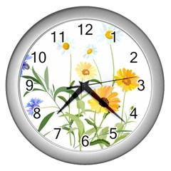 Flowers Flower Of The Field Wall Clocks (Silver)
