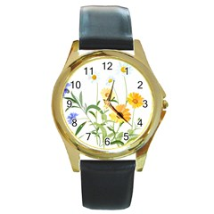 Flowers Flower Of The Field Round Gold Metal Watch