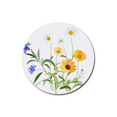 Flowers Flower Of The Field Rubber Round Coaster (4 Pack)