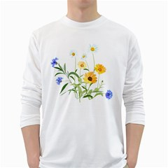 Flowers Flower Of The Field White Long Sleeve T Shirts