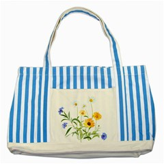 Flowers Flower Of The Field Striped Blue Tote Bag
